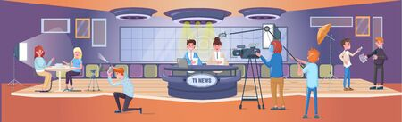 V news studio room. Full-sized studio, with operators, directors, make-up artists, sound engineers, broadcasting production studio stage light equipment. Announcers broadcasting with cameraman vector