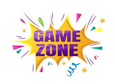 Kids zone entertainment childish banner label sticker badge