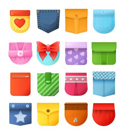 Colorful patch pockets for jeans, jackets, bags, shirt Иллюстрация