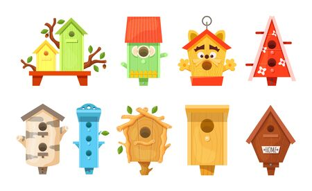 Decorative wooden spring bird houses. Colorful garden birdhouses for feeding birds. Wooden constructions to birds small buildings of planks with hole. Vector illustration.