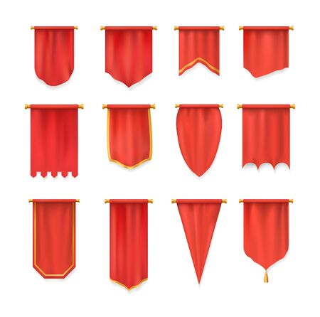 Realistic red pennant textile flag, heraldic template. Wall pennat mockup. Vettoriali