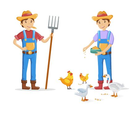 Group of farmers, agricultural work characters. Farmers with pitchfork in hand, working in fields. Man feeds pets. Agricultural gardener, agronomist work characters. Vector illustration. Illustration