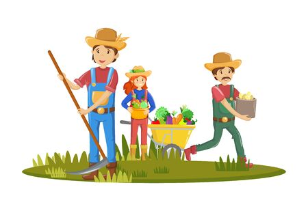 Group of farmers, agricultural work characters. Farmers with pitchfork in hand, working in fields. Woman gathering harvest, standing in garden. Agricultural gardener, agronomist. Vector illustration.