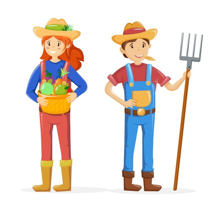 Couple of farmers, agricultural work characters. Farmer with pitchfork in hand, working in fields. Woman gathering harvest, standing in garden. Agricultural gardener, agronomist. Vector illustration.