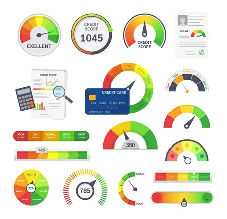 Credit score indicators. Limit indicators with color levels from poor to good. Gauges with measuring scale. Business credit score speedometers, rating credit meter, emotions vector illustration.