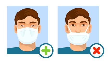 Man wearing hygienic mask to prevent infection. Health care concept. 向量圖像