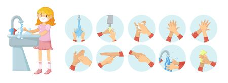 Personal hygiene, stages of proper hand washing vector