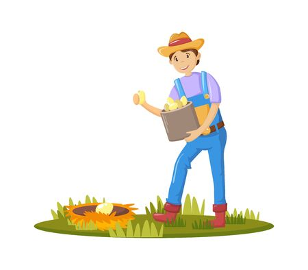 Farmers and agricultural work characters. Male farmer holding basket with eggs in hand, working in garden, gathering harvest. Agricultural gardener, agronomist. Vector illustration.