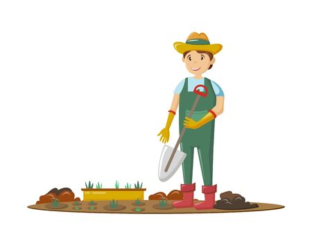 Farmers and agricultural work characters. Male farmer holding shovel in hand, working in fields, gathering harvest, standing in garden. Agricultural gardener, agronomist. Vector illustration.