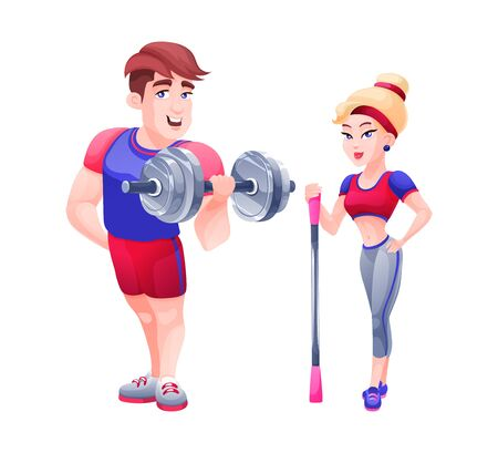 Fitness trainer girl and bodybuilder man, engaged sports in gym.