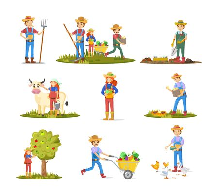 Farmers, agricultural work characters. Agriculture, livestock, poultry farming, organic farm. Farmers working on rural farmland, carrying fruits, milking cow, collecting apples. Vector illustration. Vectores