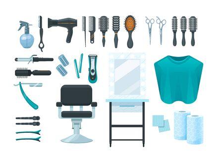 Barbershop items. Professional shaving hairdresser tools, accessories. Razor, comb, scissors, mirror, chair, brush fan shampoo conditioner vector cartoon illustration