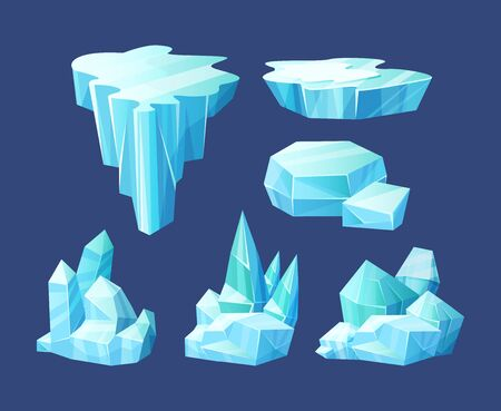 Crystals of ice, iceberg broken pieces of ice, icicles, cold frozen blocks ice mountain, winter landscape for game design cartoon vector illustration