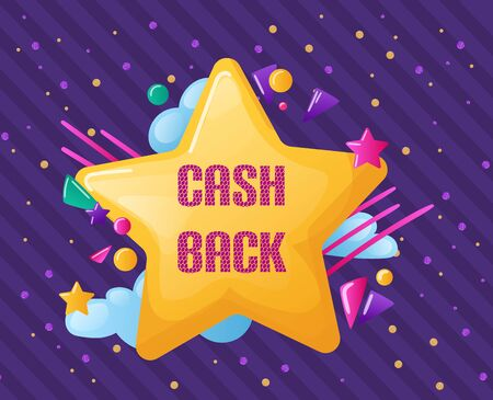 Creative colorful lettering labels with cash back in form star.