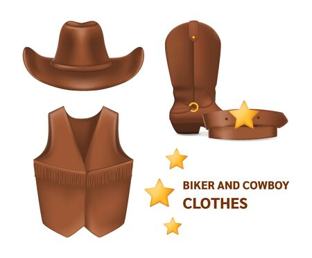 Cowboy clothes hat, vest, boots, belt vector isolated mock up