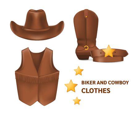 Cowboy clothes hat, vest, boots, belt vector isolated mock up 免版税图像 - 145267541