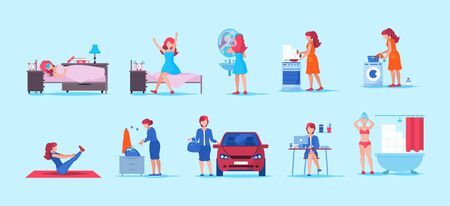 Young woman, office worker and housewife everyday life.