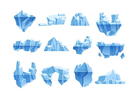 Iceberg cartoon set. Crystals of ice, iceberg broken pieces of ice, blue cold frozen blocks ice rocks winter, arctic, antarctic winter landscape for game design cartoon vector isolated