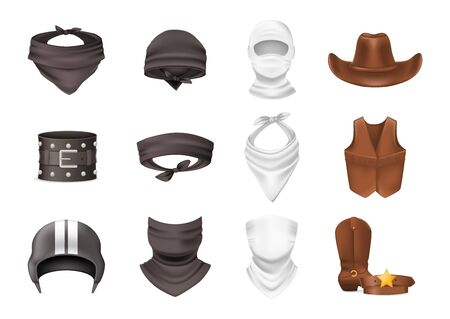 Realistic biker and cowboy clothing. Cowboy clothes leather hat, vest, boots, belt. Biker silk headband bandana scarf helmet wristband bandage. Protecting face and body. Wild west element vector