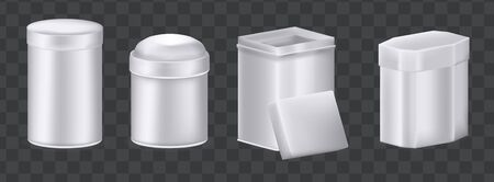 Realistic metal box mockup set. Aluminum containers boxes packaging different shapes oval, round low jar, high cylindrical can, tea square heart star metal stainless box vector