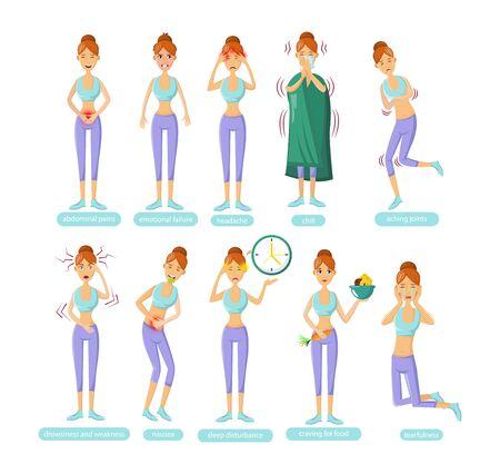 PMS - Young woman with premenstrual syndrome symptoms cartoon vector Vektoros illusztráció