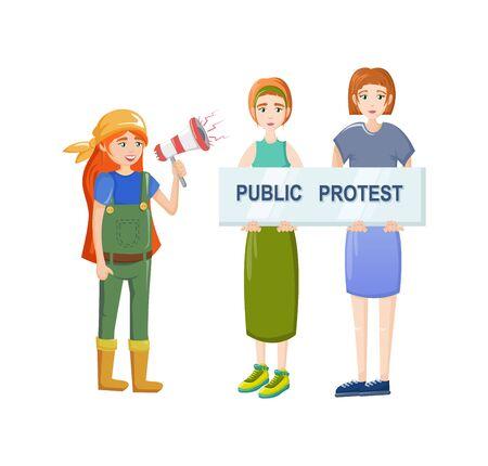 Female movements. Women empowerment, feminist demonstration, for women political rights.