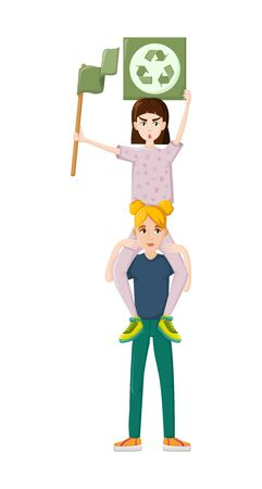 Female movements. Two woman environmental demonstration, for women political rights. Illustration
