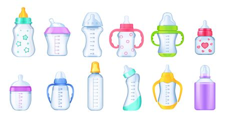 Realistic baby milk bottle set. Colorful multi-colored bottles for feeding a newborn baby differents shape