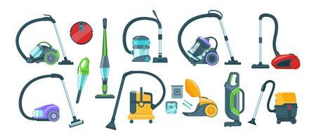 Vacuum cleaner equipment cartoon set. Washing robot cyclone and car vacuum cleaner.