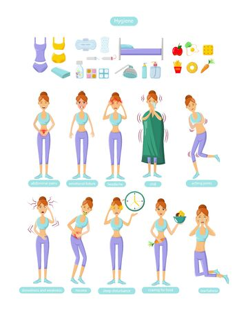 PMS - Young woman with premenstrual syndrome symptoms and Hygiene cartoon vector