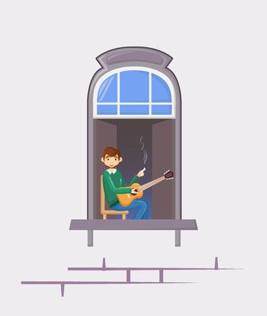 Neighbors in windows of old house. House building facade with open windows and with people. Illustration