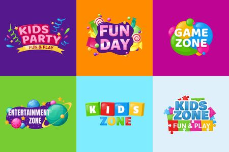 Kids zone entertainment set childish banner label sticker badge
