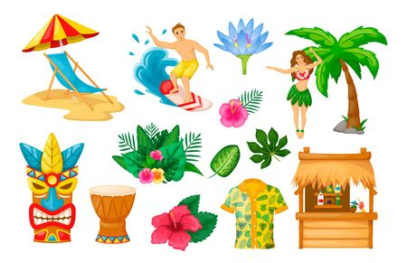 Modern traditional objects of Hawaiian culture. Hawaiian mask totem, surfing, palm tree, girl dancing hula dance, Hawaiian shirt, drums, bungalow, tropical leaves vector illustration isolated Vettoriali