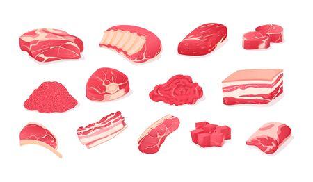 Meat fresh steaks cartoon set. Meat parts animals pork and beef. Assortment of meat slices of dish is beef, pork, steak, boneless ridge, whole leg, roast, brisket, ribs, rustic brisket vector