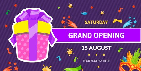 Grand opening label typography graphic design. Grand opening invitation, banners template with gift. Vettoriali