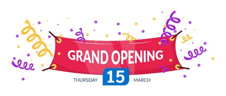 Grand opening label typography graphic design. Grand opening invitation