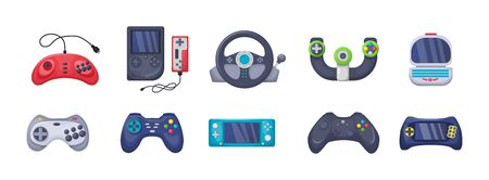 Game console objects set. Gamepad, playing joystick, video console, joy video games gadgets Illustration