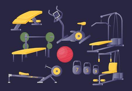 Equipment for strong muscles, slim figure, fitness exercise. Illustration