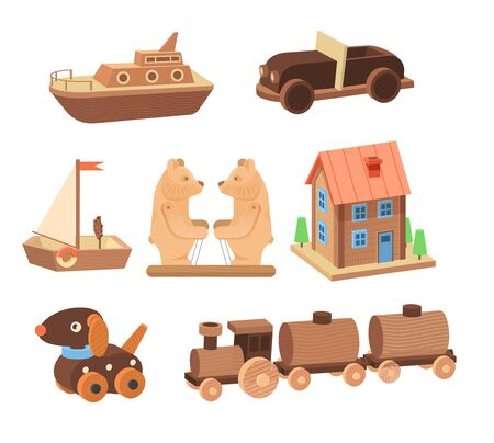 Vintage wooden toys set. Toys for children made of wood bears, plane, sword, hedgehog educational, puzzle, dog Vettoriali