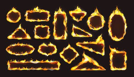Red realistic flame frame set. Flames of various shapes with special light effect on dark background. Illustration