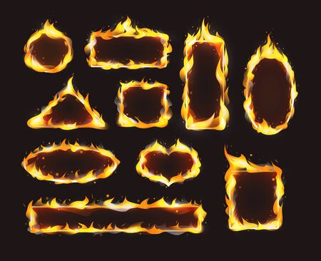 Red realistic flame frame set. Flames of various shapes with special light effect on dark background. Vettoriali