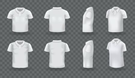 Realistic polo shirt men women set. White blank classic polo t-shirt mock up isolated on transparent dark background