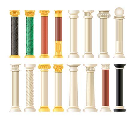Realistic antique pillars set. Antique column, classic pillar.