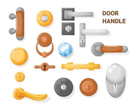 Hotel handle door room set. Door knobs with Do Not Disturb Sign. Doorknob handle to lock doors at home ofiice hotel 矢量图像