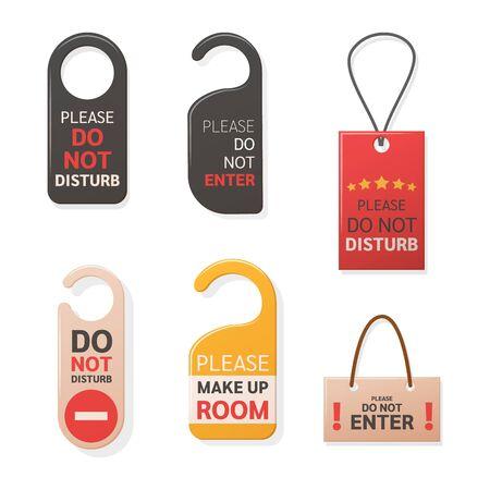 Do Not Disturb Sign hanger set. Hotel warning messages cardboard labels for staff vector