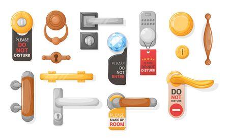 Hotel handle door room set. Door knobs with Do Not Disturb Sign. Doorknob handle to lock doors at home ofiice hotel Vettoriali