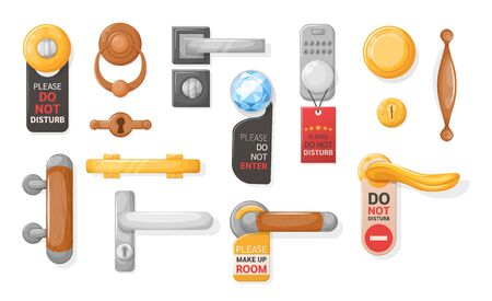 Hotel handle door room set. Door knobs with Do Not Disturb Sign. Doorknob handle to lock doors at home ofiice hotel Illustration
