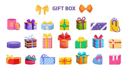 Present wrapped gift box differents shapes with ribbons and bows. Vettoriali