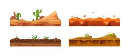 Paysage de jeu, interface de jeu. Paysage pour les jeux 2D. Paysage avec cactus, sol, sol sablonneux, vecteur de lave Vecteurs