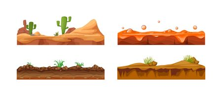 Game landscape, gaming interface. Landscape for 2D games. Scenery with cactus, soil, sandy ground, lava vector Illustration